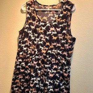 horse and polka dot navy layer dress